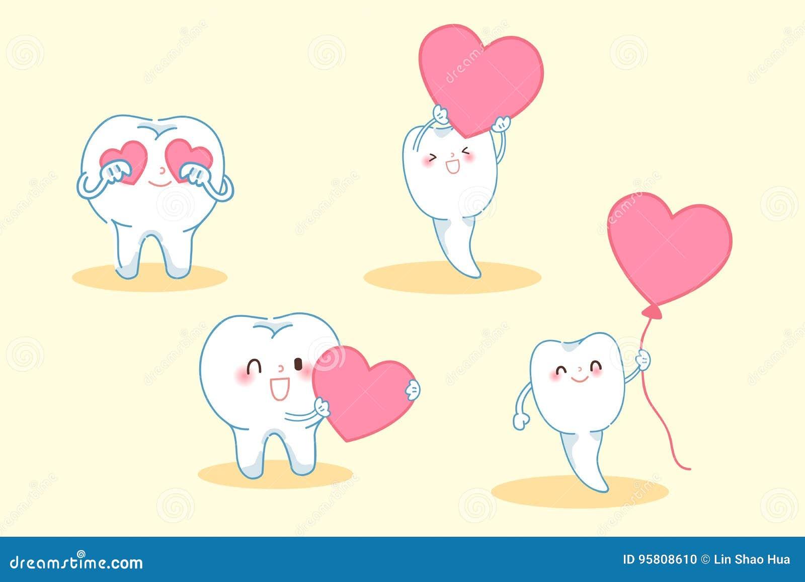 24a6b665f Dente Dos Desenhos Animados Com Coração Ilustração do Vetor ...