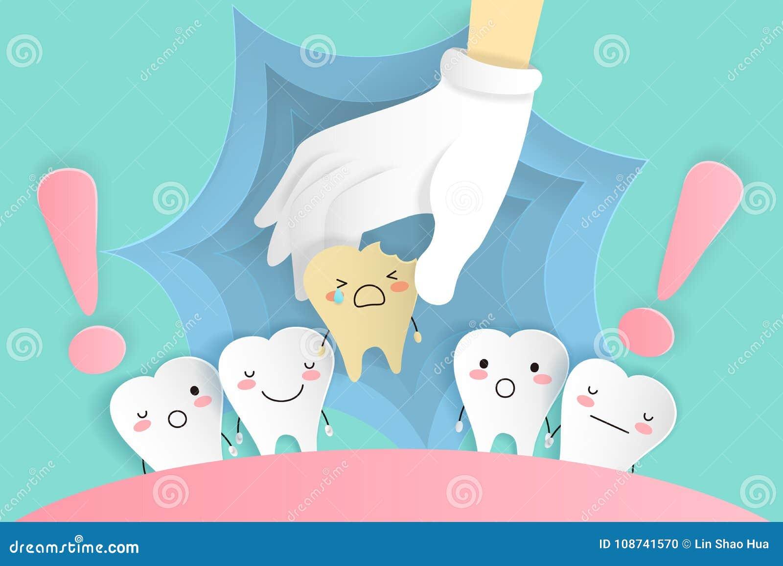4540663b7 Dente bonito dos desenhos animados com cuidados dentários no fundo verde