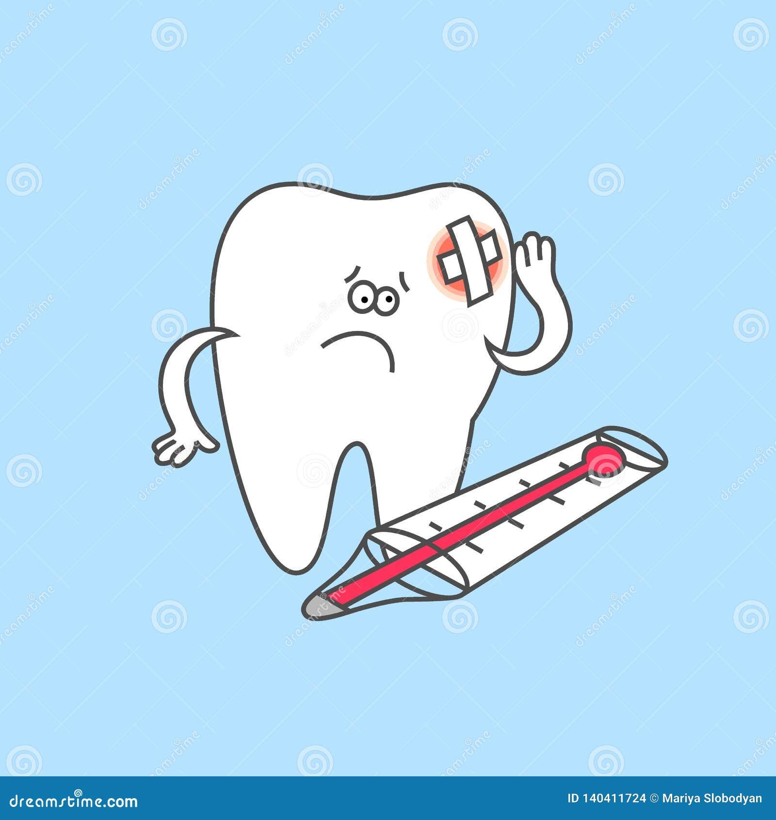 Dente Dos Desenhos Animados Com Dor De Dente E Termometro