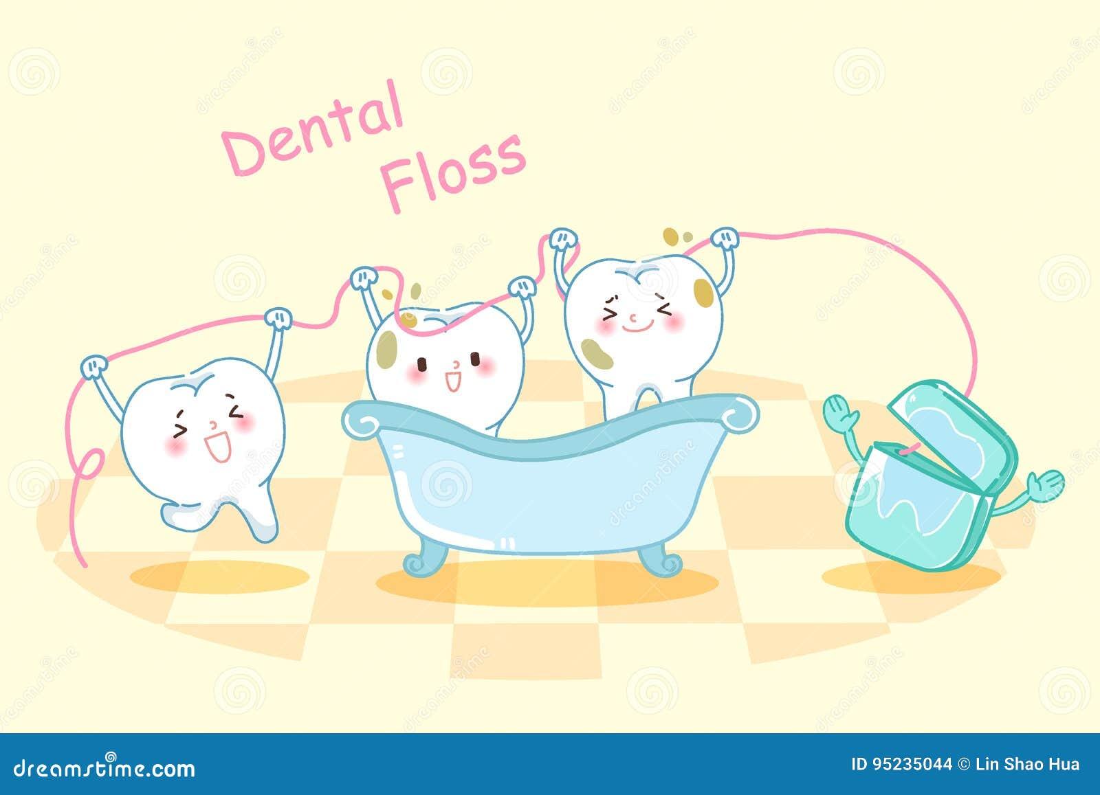 58a6a0787 Banho bonito da tomada do dente dos desenhos animados com fio dental