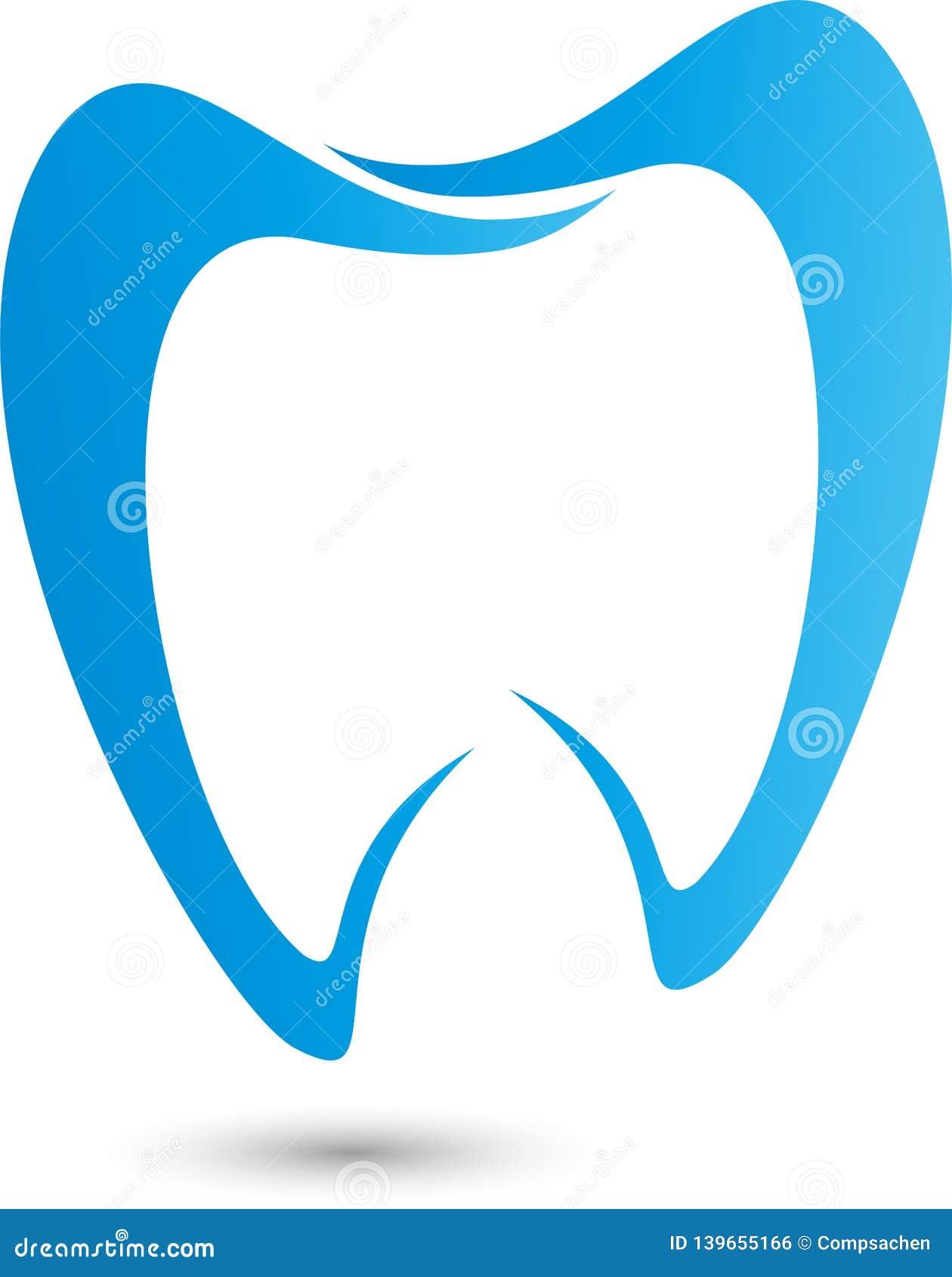 Dente no azul, no logotipo da odontologia, no dente e no logotipo dos cuidados dentários, ícone do dente