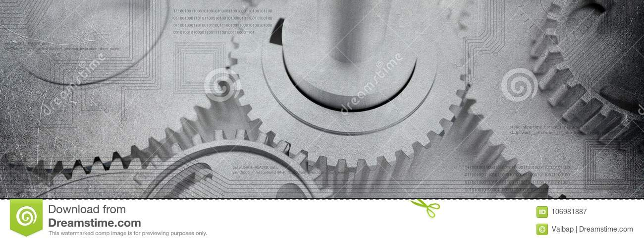 Dented cogs wheels banner with computer technologic circuits