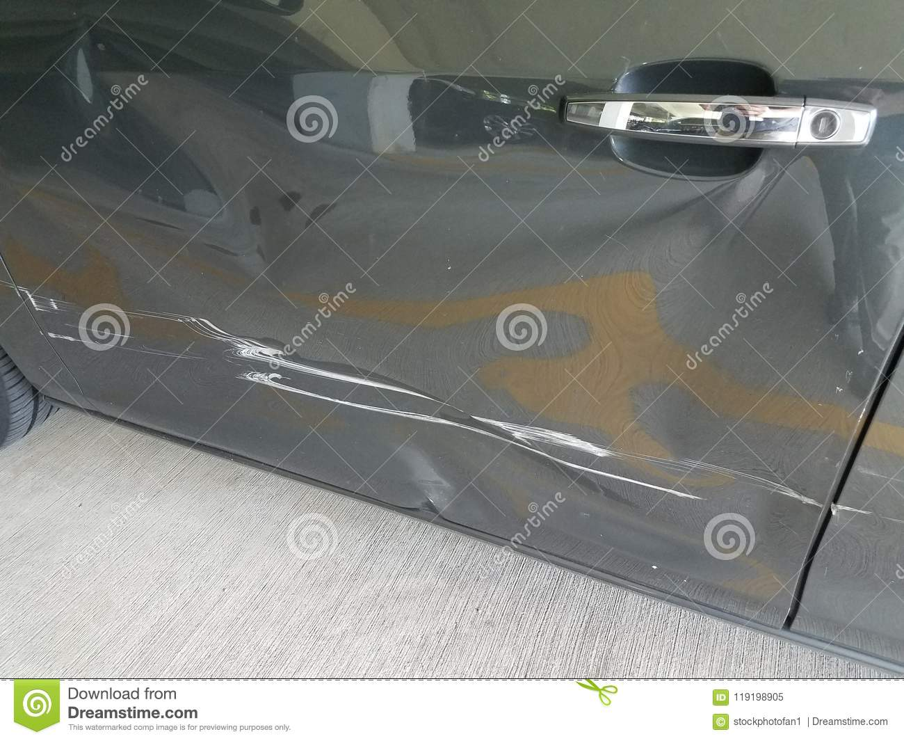 Dented And Scratched Black Car Door Stock Image - Image of
