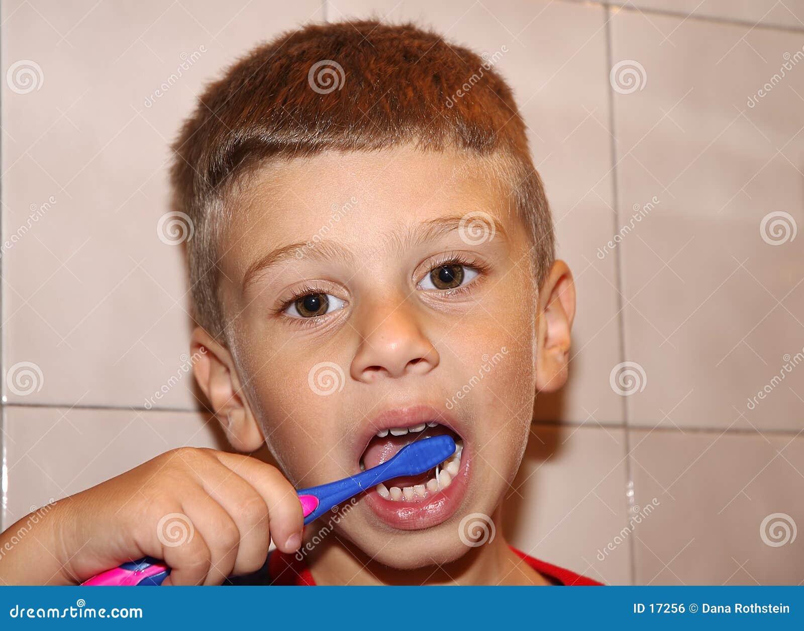 Dentes de escovadela da criança