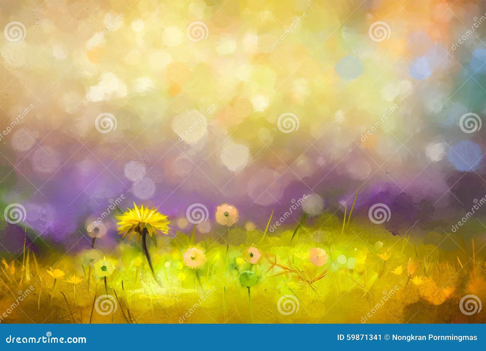 Dentes-de-leão amarelos das flores da grama da natureza da pintura a óleo
