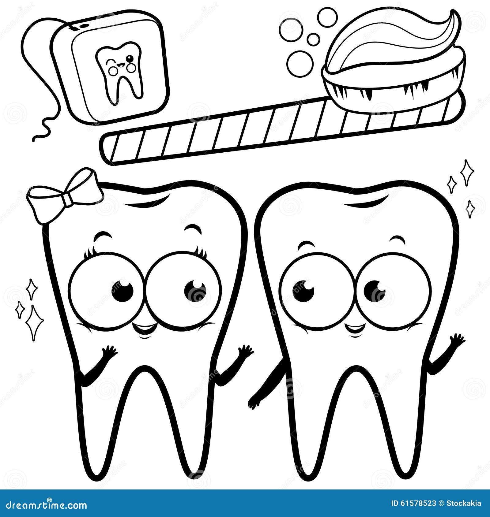 Dentes Dos Desenhos Animados Da Pagina Da Coloracao Com Escova De