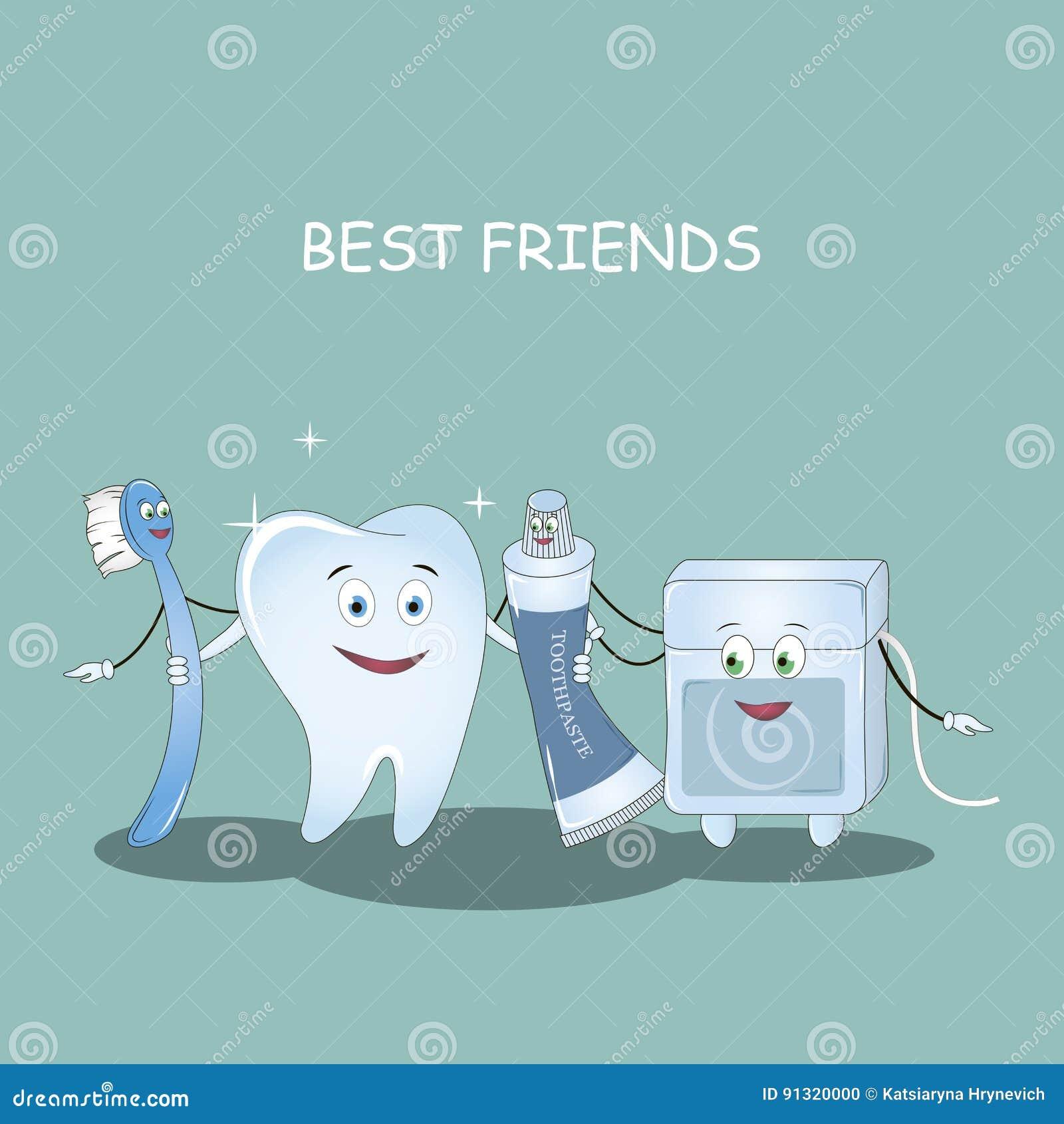 0fd468983 Dentes dos melhores amigos Ilustração do vetor Ilustração para a odontologia  de crianças e a ortodontia Escova de dentes da imagem