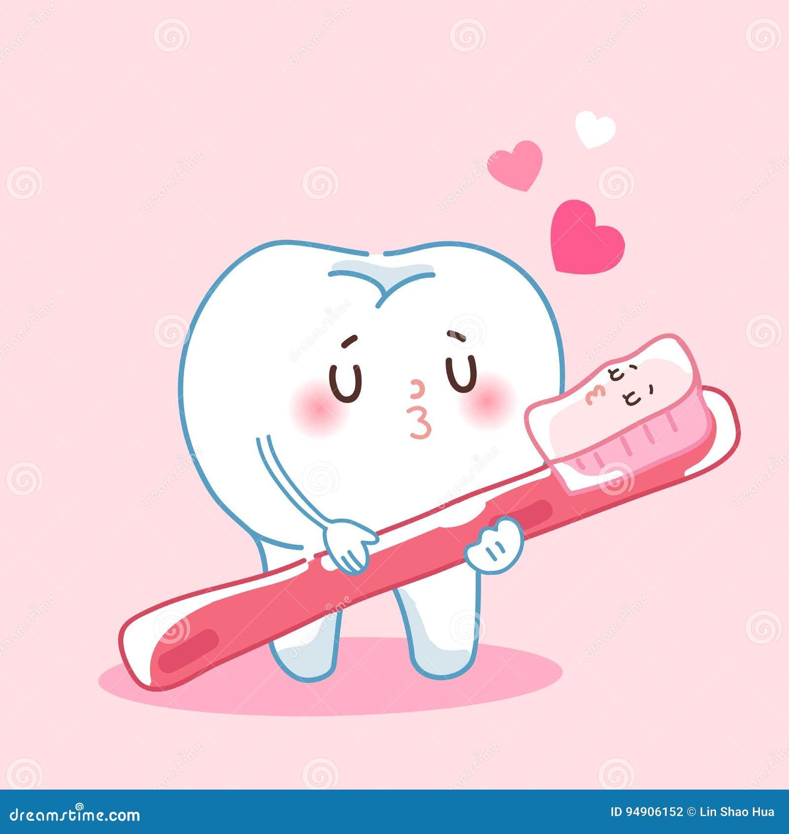 Dentes e escova de dentes dos desenhos animados