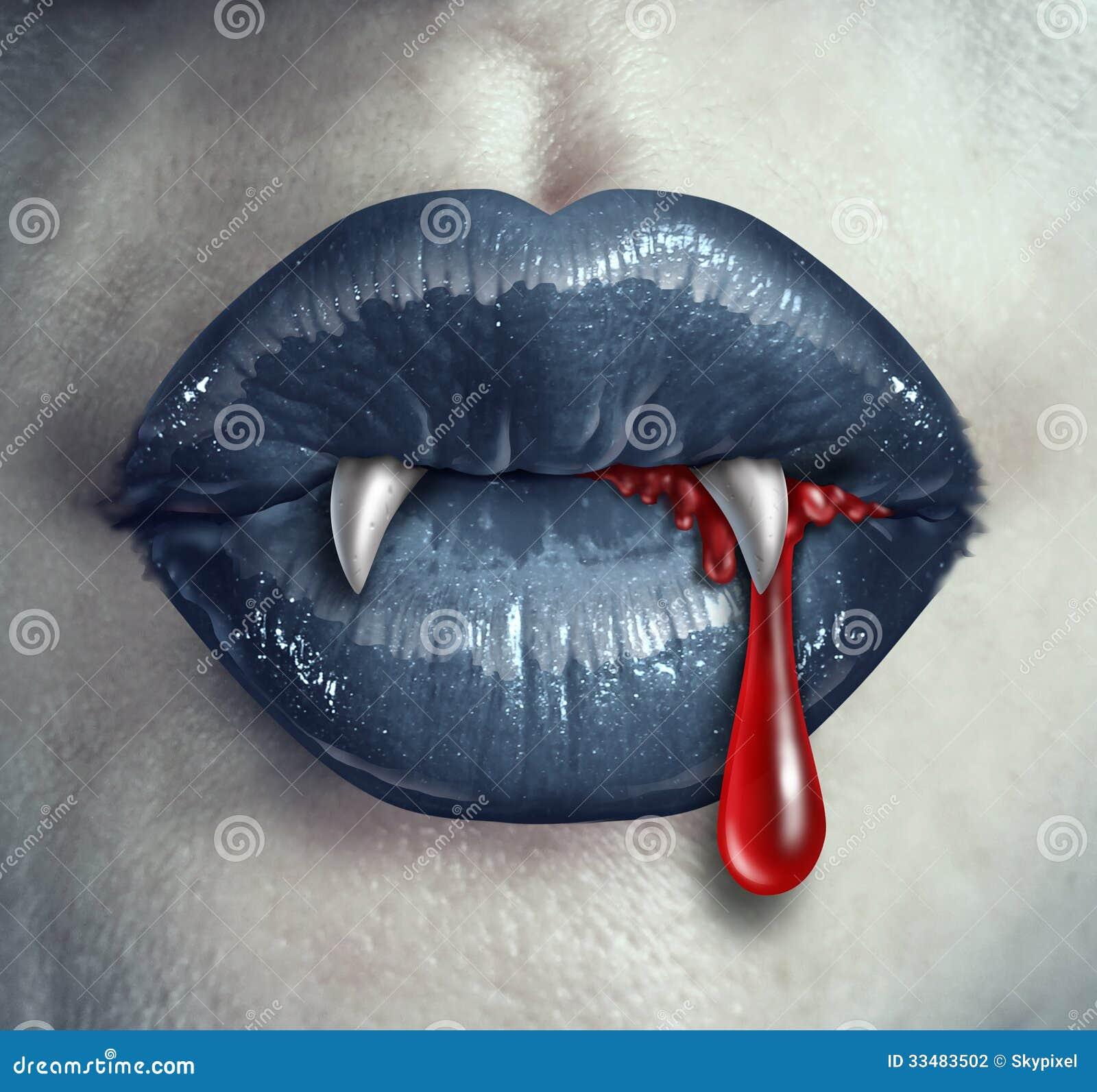 Dentes ensanguentados do vampiro do horror