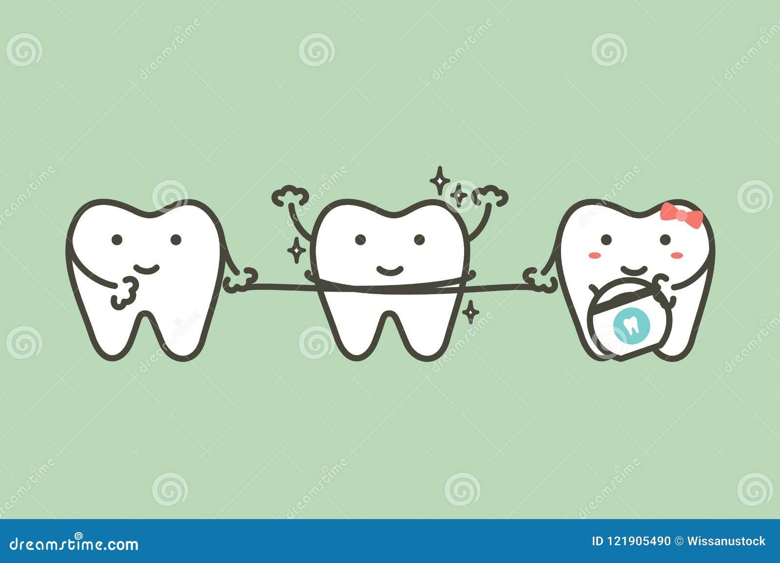 Dentes saudáveis que limpam seu amigo pelo fio dental