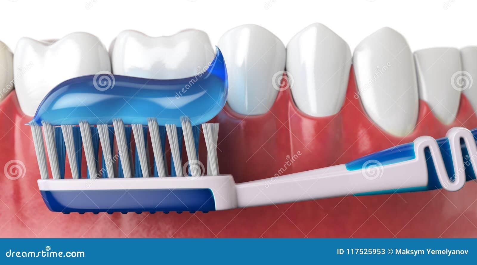Denti e spazzolino da denti umani con dentifricio in pasta Concetto dell igiene orale