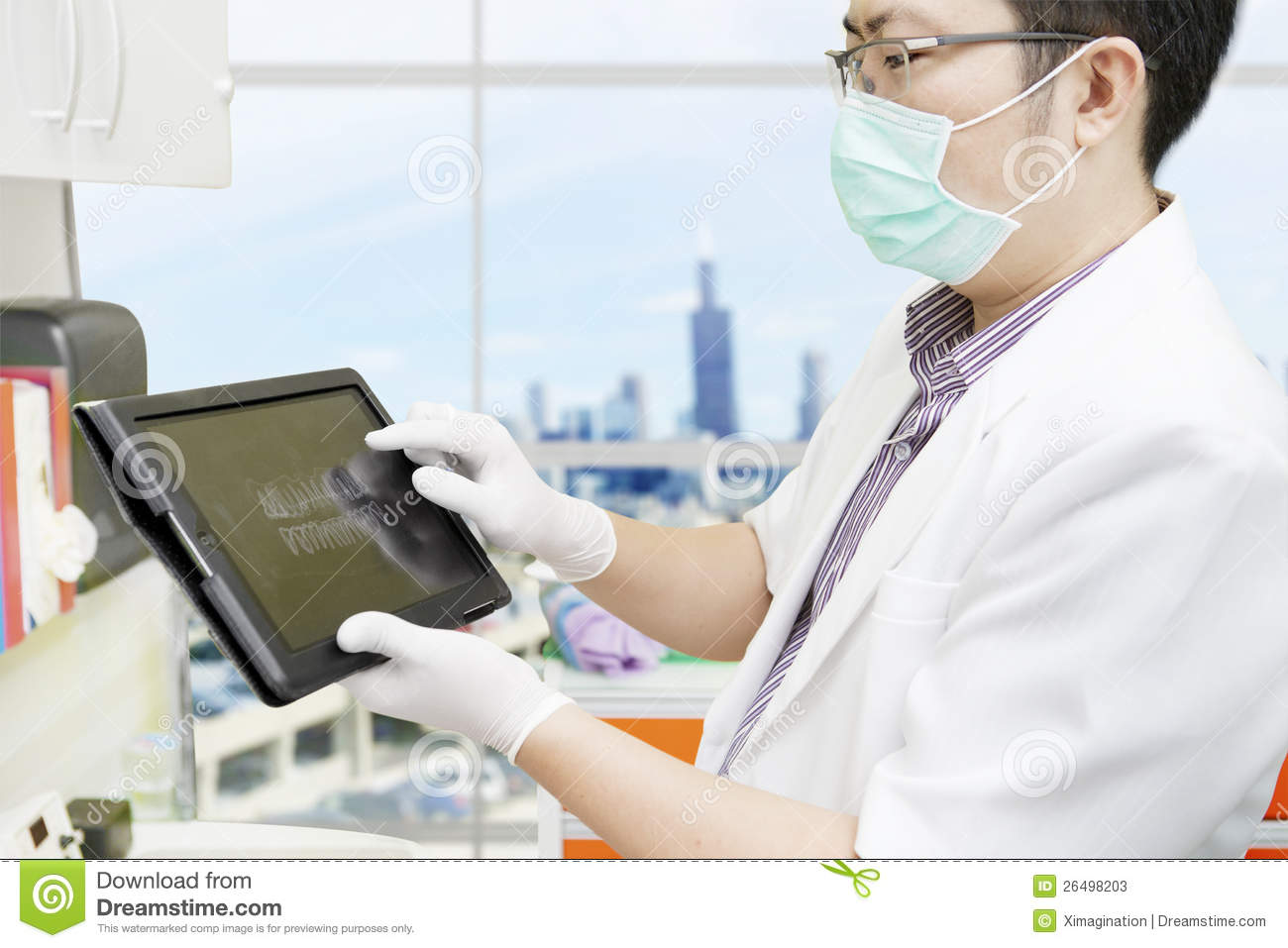 Dentist With Computer Tablet Stock Image Image 26498203