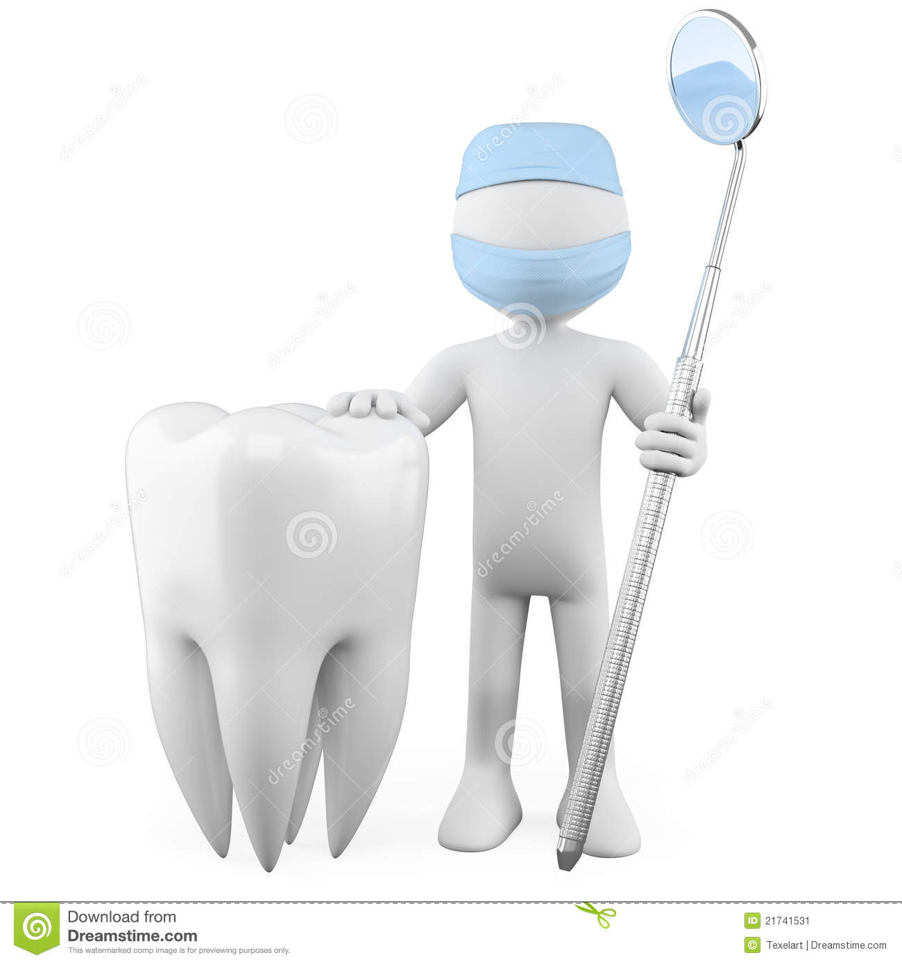 dentist with a tooth and a mouth mirror stock image