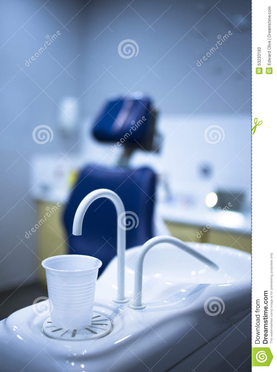 Dentist water rinse cup tap filler in dental clinic dentists