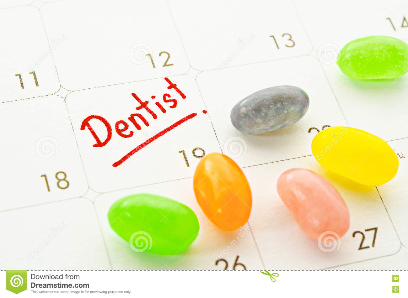 Dentist Word In Calendar With Colorful Candy. Stock Photo - Image ...