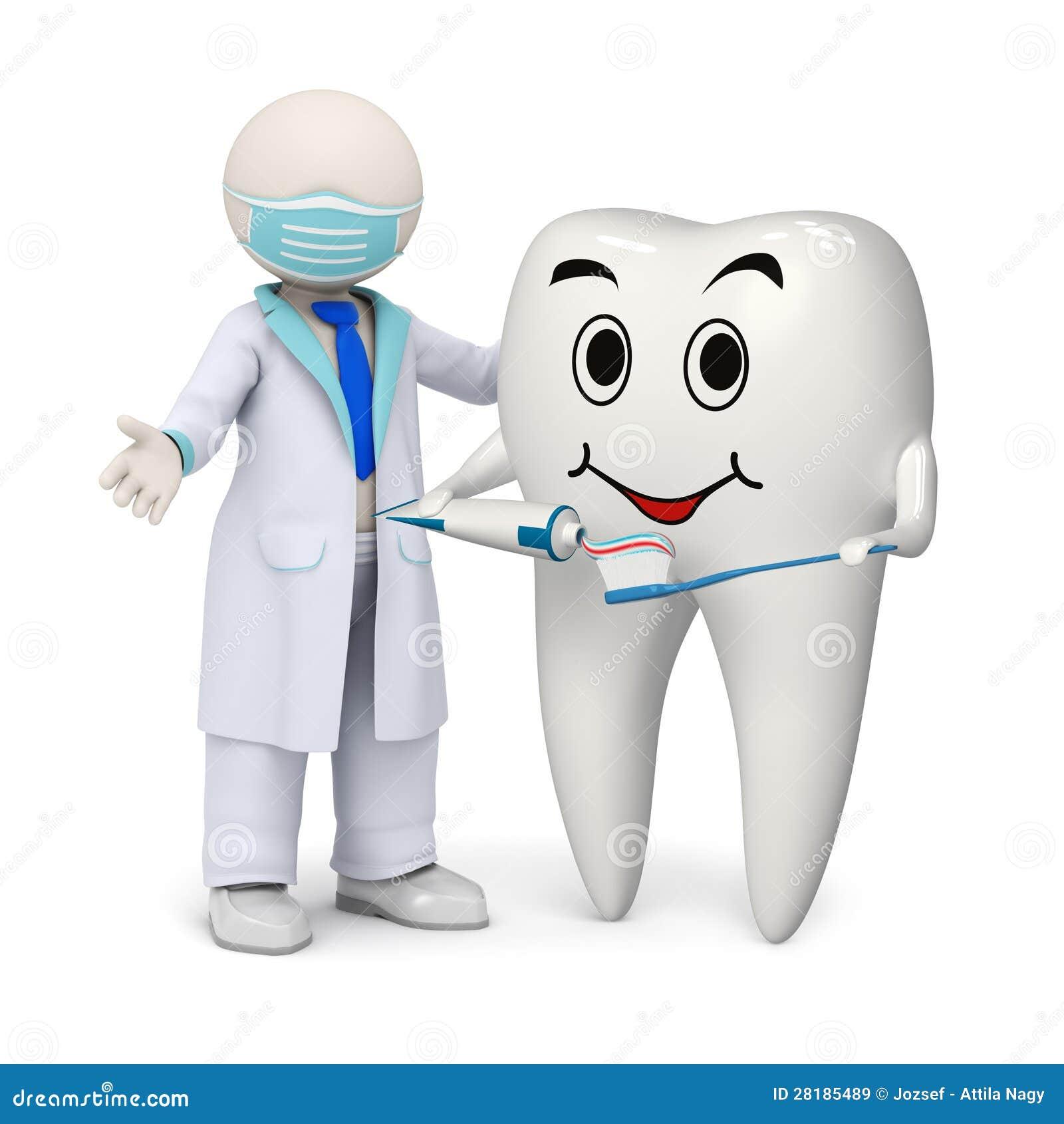 Dentista 3d con un dente e uno spazzolino da denti sorridenti