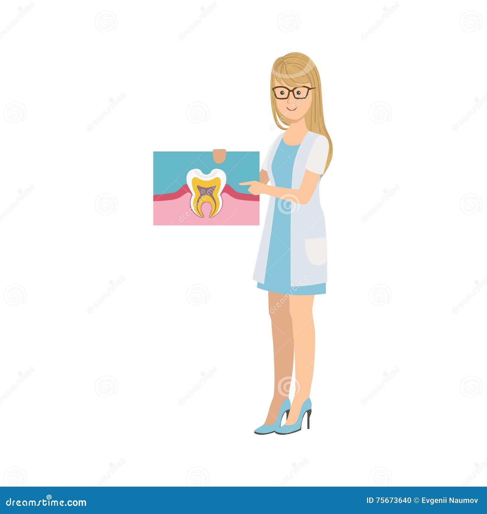 Dentista In White Gown De La Mujer Que Sostiene El Dibujo De La ...