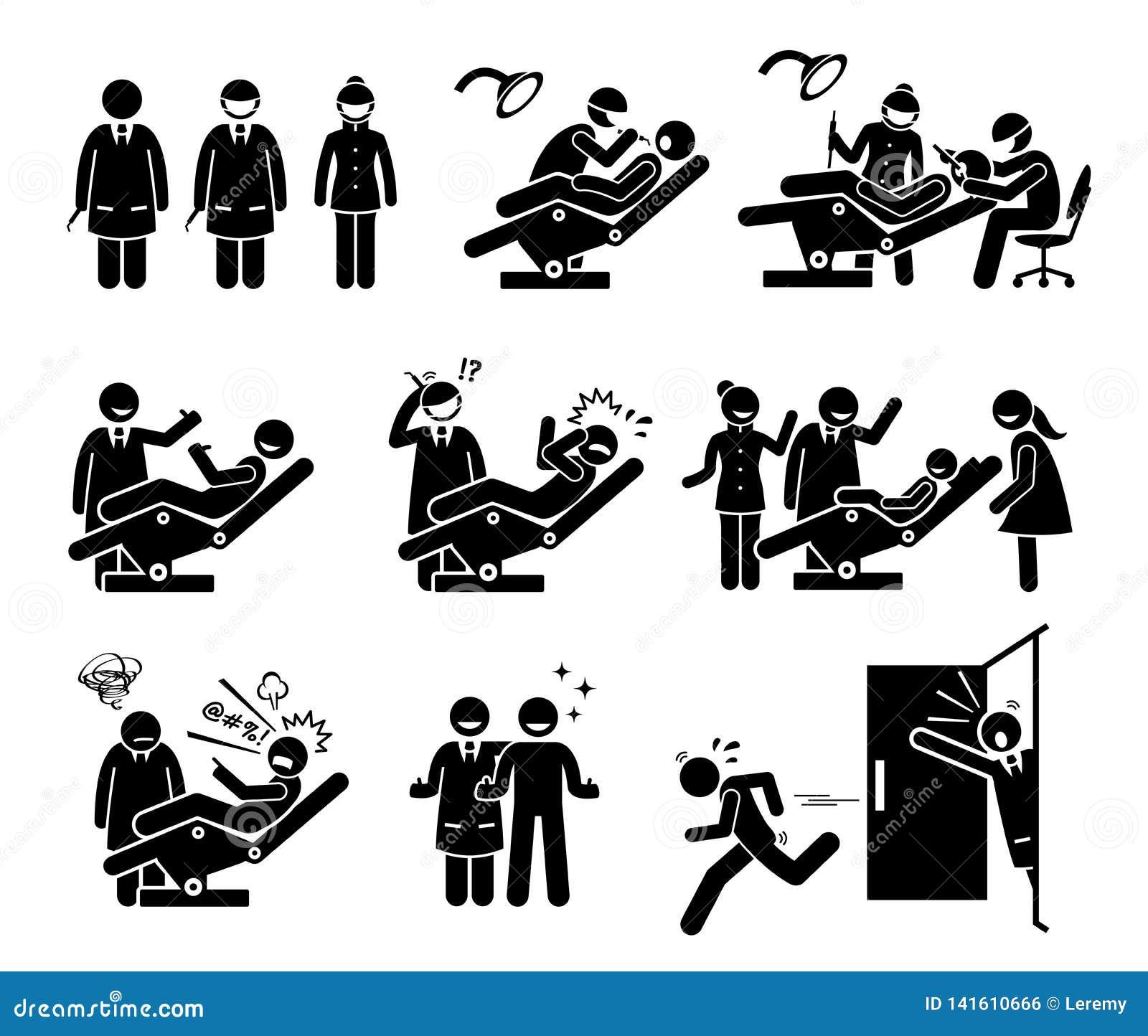 Dentista y clínica dental con reacciones divertidas de la gente