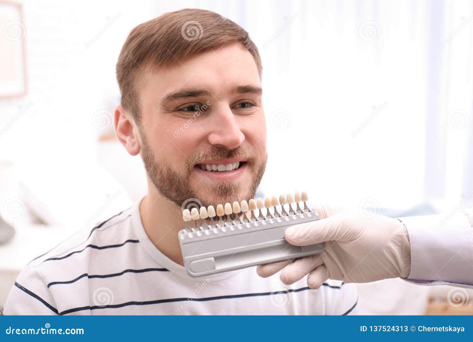 Dentiste vérifiant la couleur des dents du jeune homme