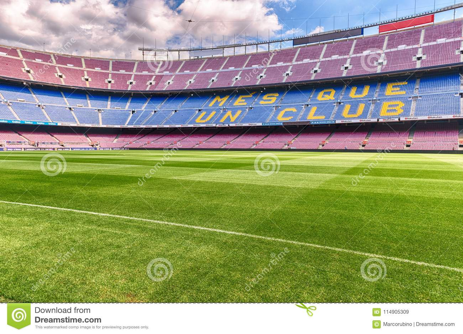 Dentro De Camp Nou Estadio Home Do Fc Barcelona Catalonia Espanha Imagem De Stock Editorial Imagem De Estadio Espanha 114905309