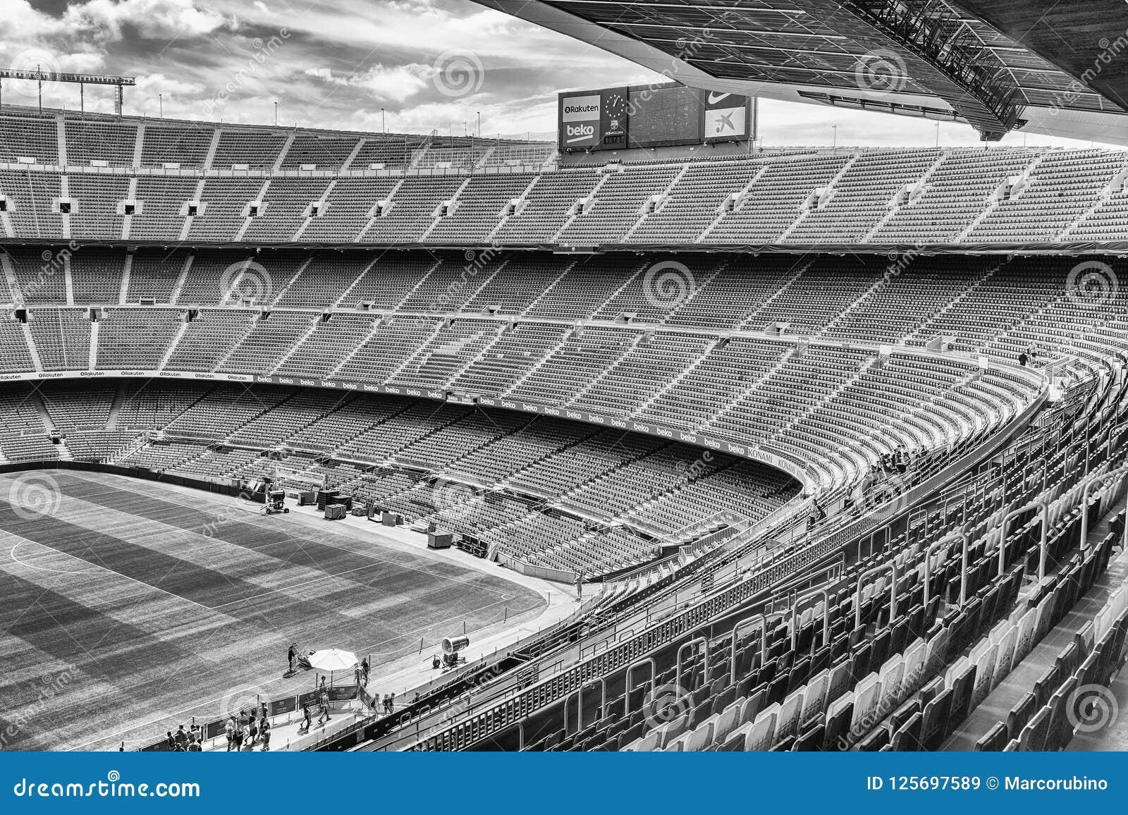 Dentro De Camp Nou Estadio Home Do Fc Barcelona Catalonia Espanha Imagem De Stock Editorial Imagem De Catalonia Estadio 125697589