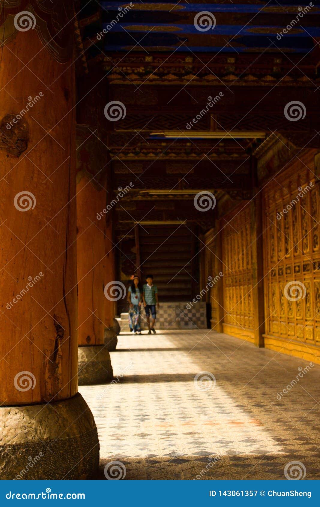 Dentro del templo, columnas enormes, caminos alfombrados, luz del sol, sombras, edificios