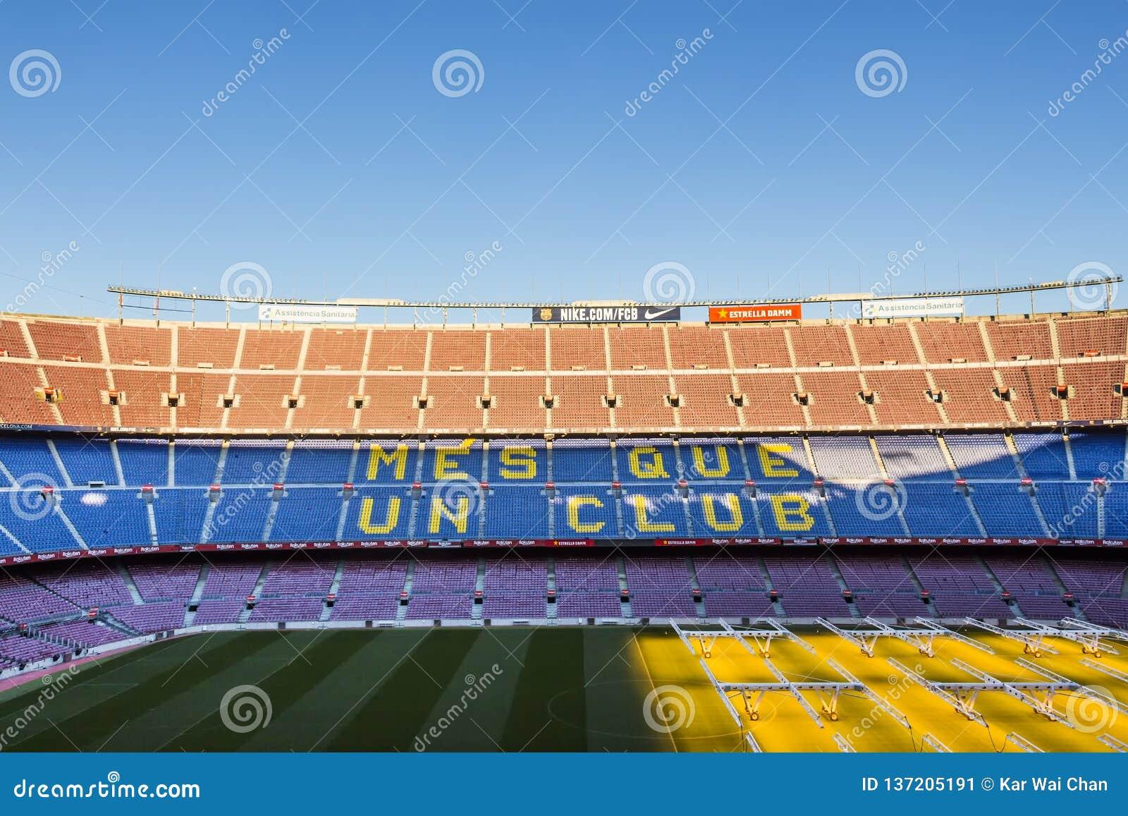 Dentro Do Estadio Da Casa De Camp Nou Do Fc Barcelona Do Estadio O Maior Na Espanha E Da Europa Foto Editorial Imagem De Estadio Maior 137205191