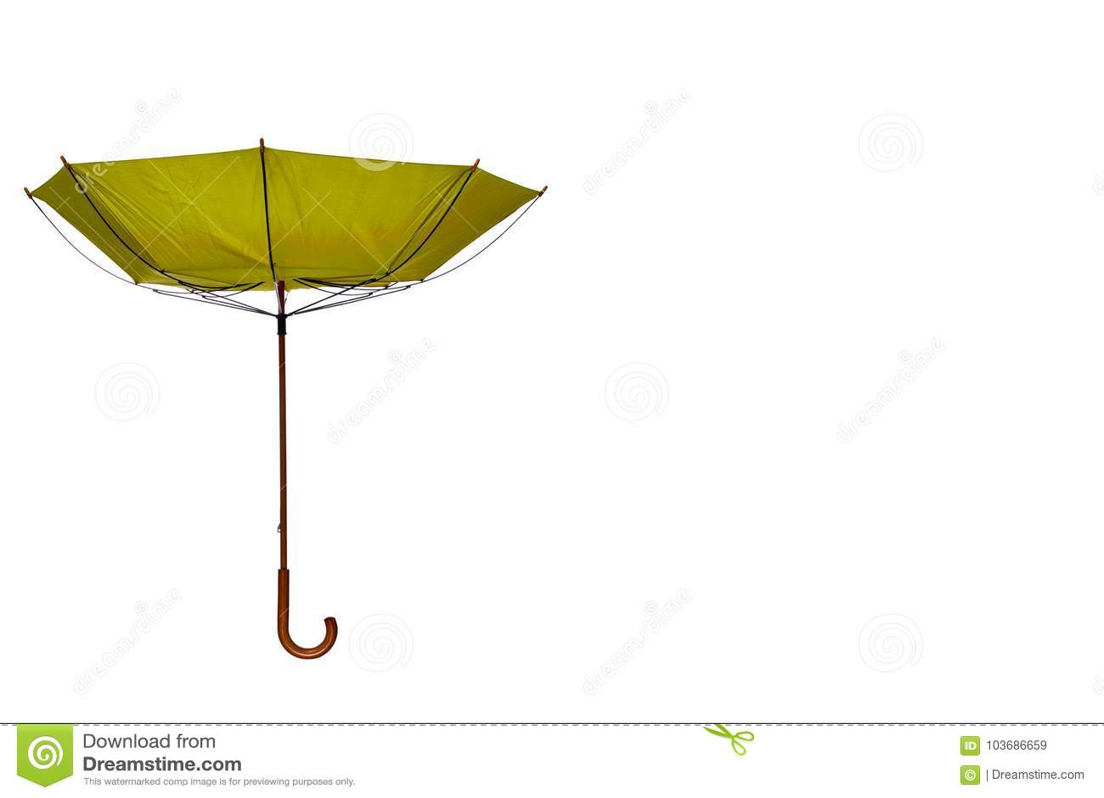 Dentro - do guarda-chuva para fora amarelo descentralizado no fundo branco