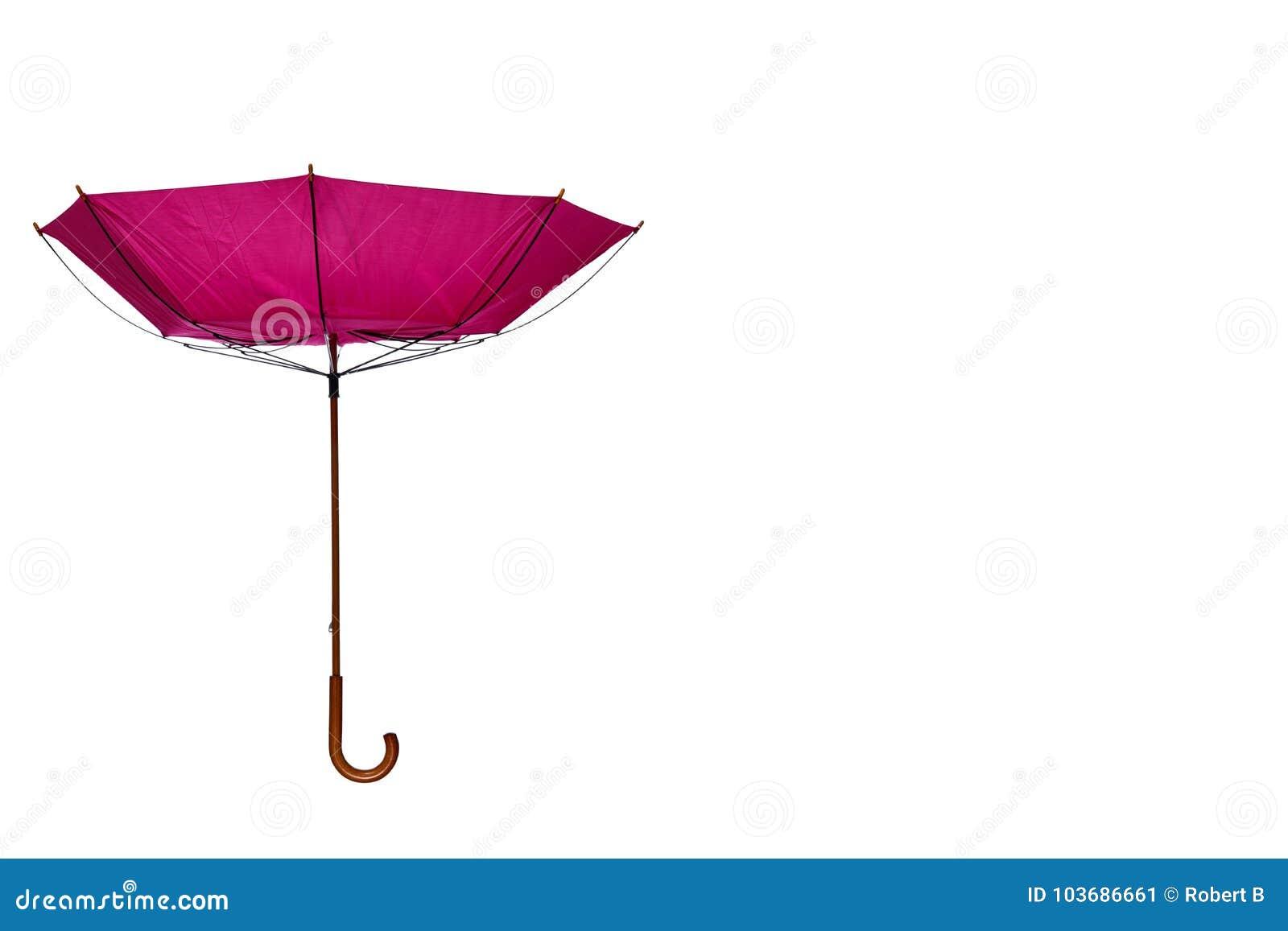Dentro - do guarda-chuva para fora cor-de-rosa descentralizado no fundo branco
