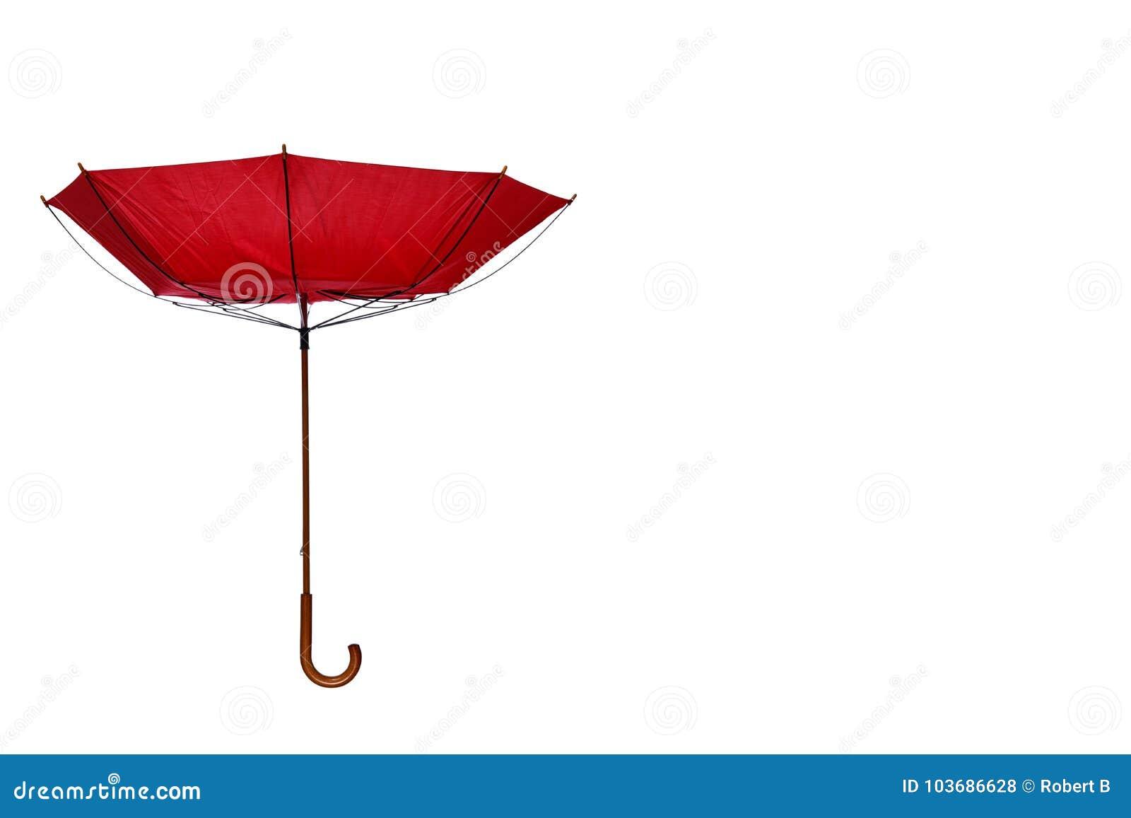 Dentro - do guarda-chuva para fora vermelho descentralizado no fundo branco