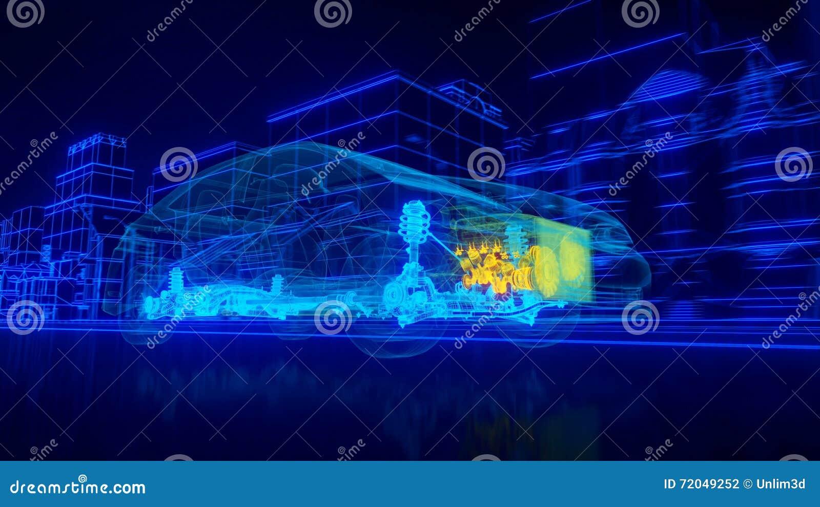 Dentro la trasmissione automobilistica di panoramica del cavo, motore, sospensione, ruote illustrazione di stock