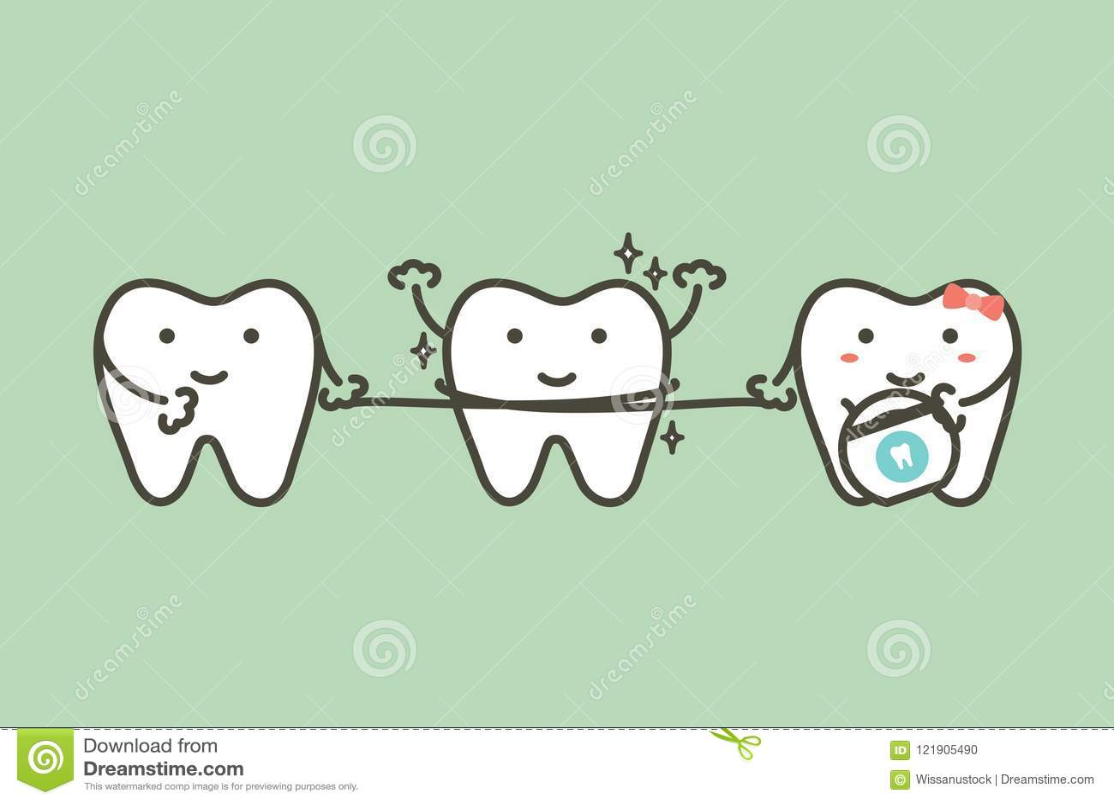 Dents saines nettoyant son ami par le fil dentaire