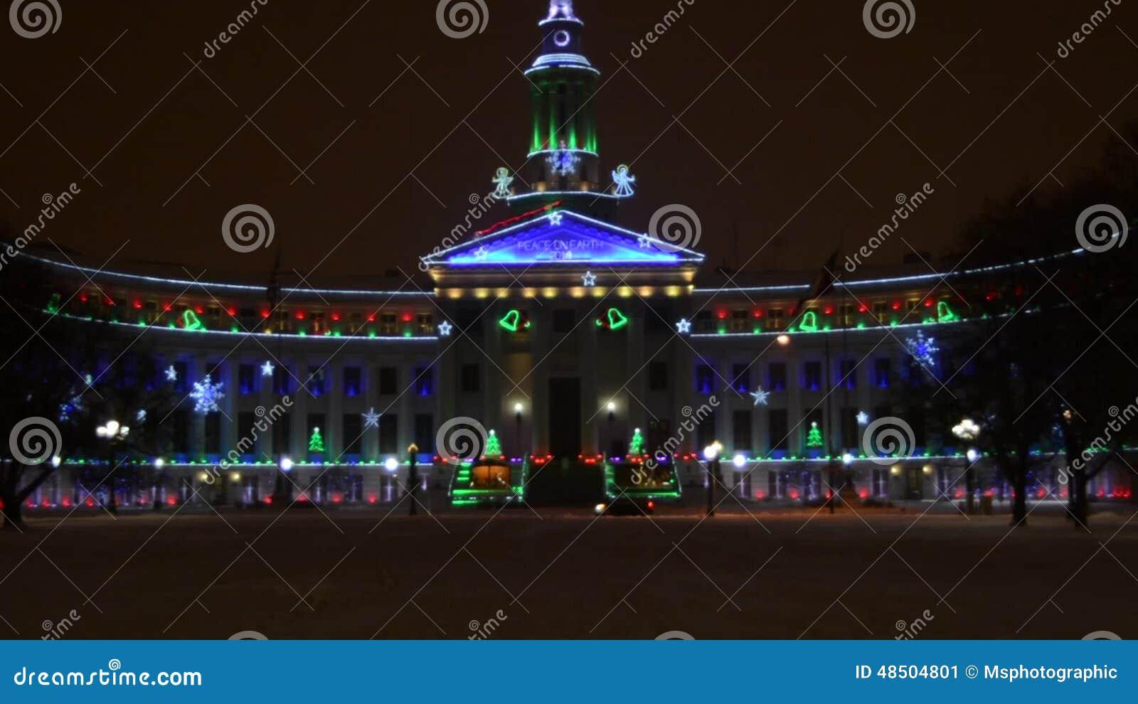 Denver Civic Center Christmas Lights Stock Video   Video Of Denver, Lights:  48504801