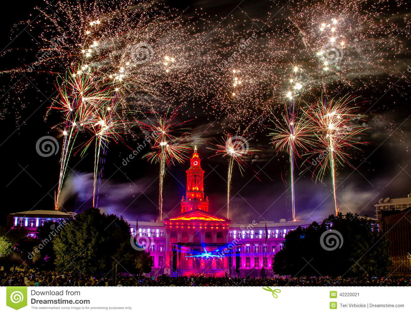 Denver CO 4th Of July Fireworks Stock Image