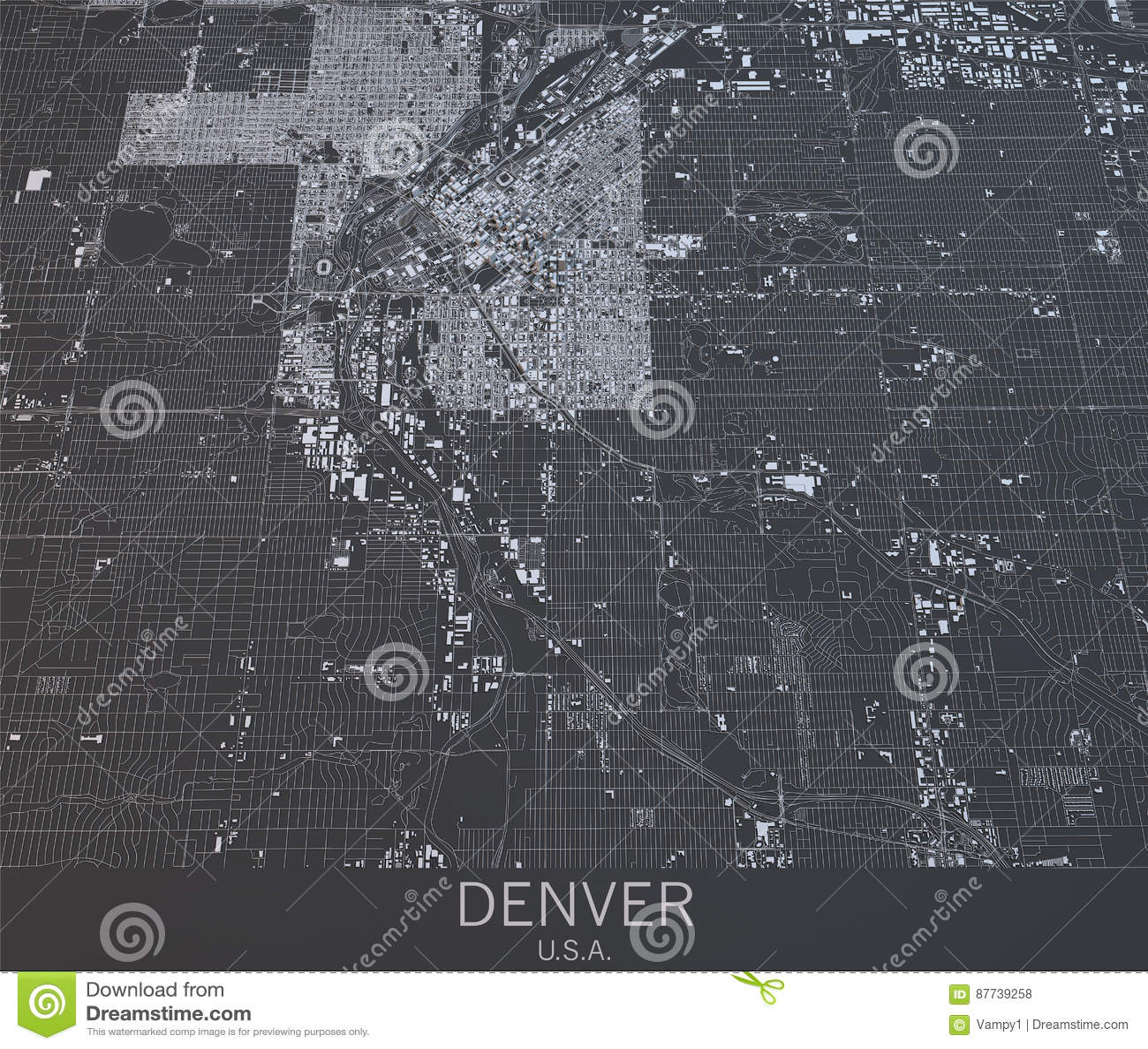 Denver Map, Satellite View, United States. Stock Illustration ... on