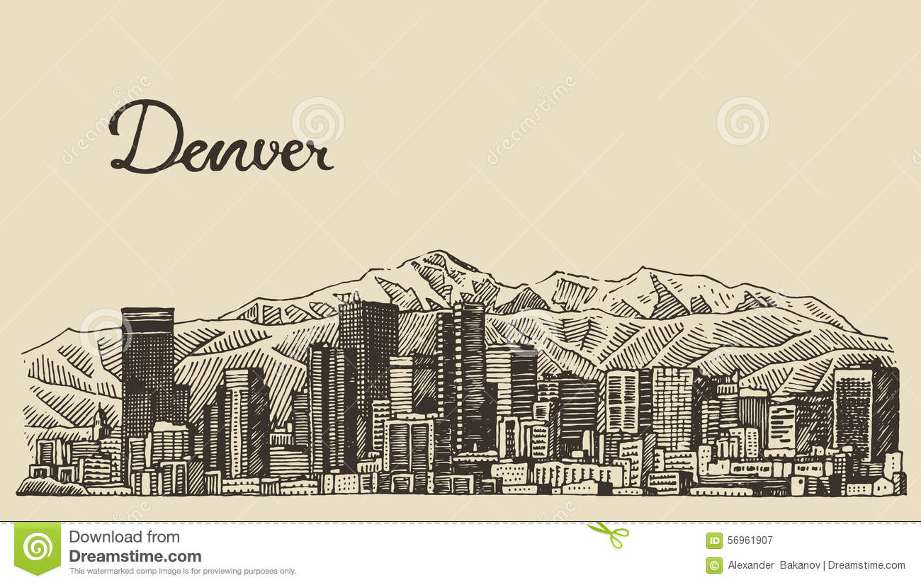Denver skyline engraved vector hand drawn sketch stock for Architecture antique