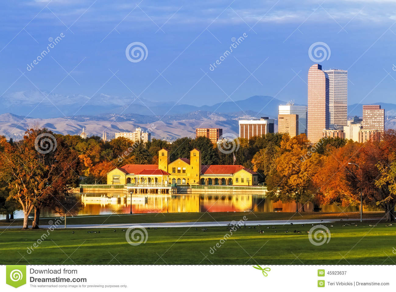 denver skyline in fall from city park stock image image of 5280 cash 45923637. Black Bedroom Furniture Sets. Home Design Ideas