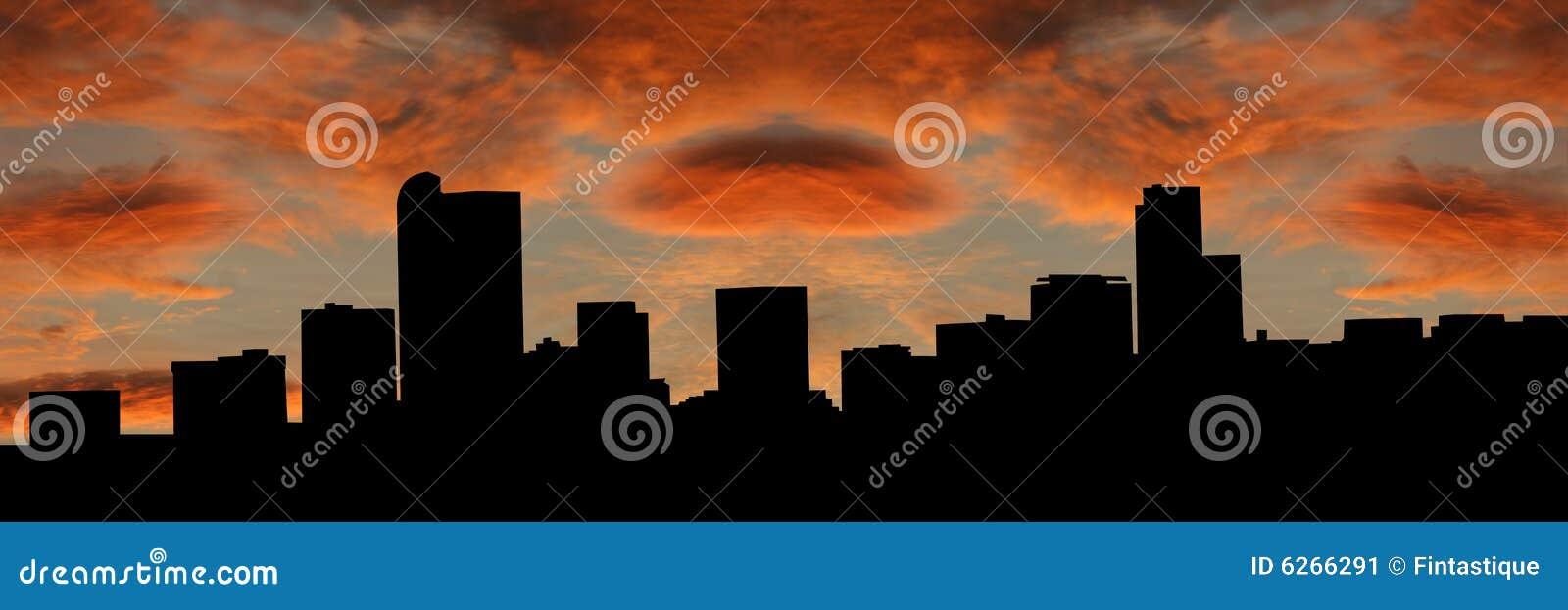 Denver skyline słońca