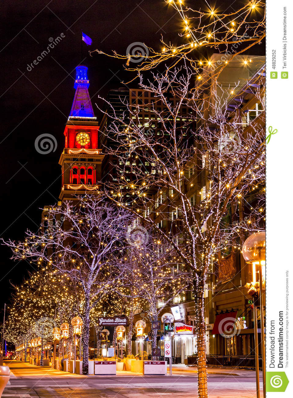 Denver 16th Street Mall In Orange And Blue Editorial Photography ...
