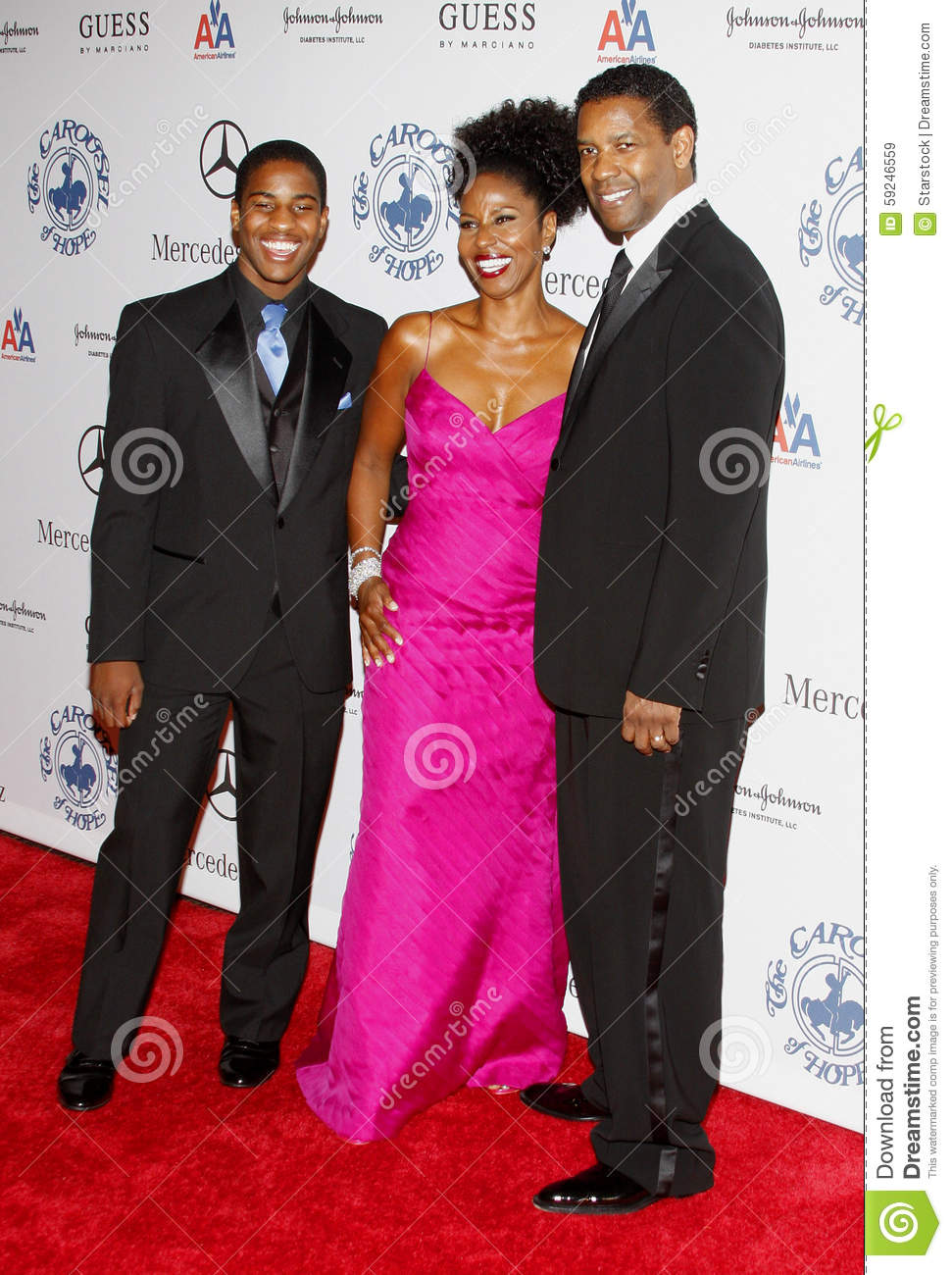 Denzel Washington, Pauletta Washington y Malcolm Washington