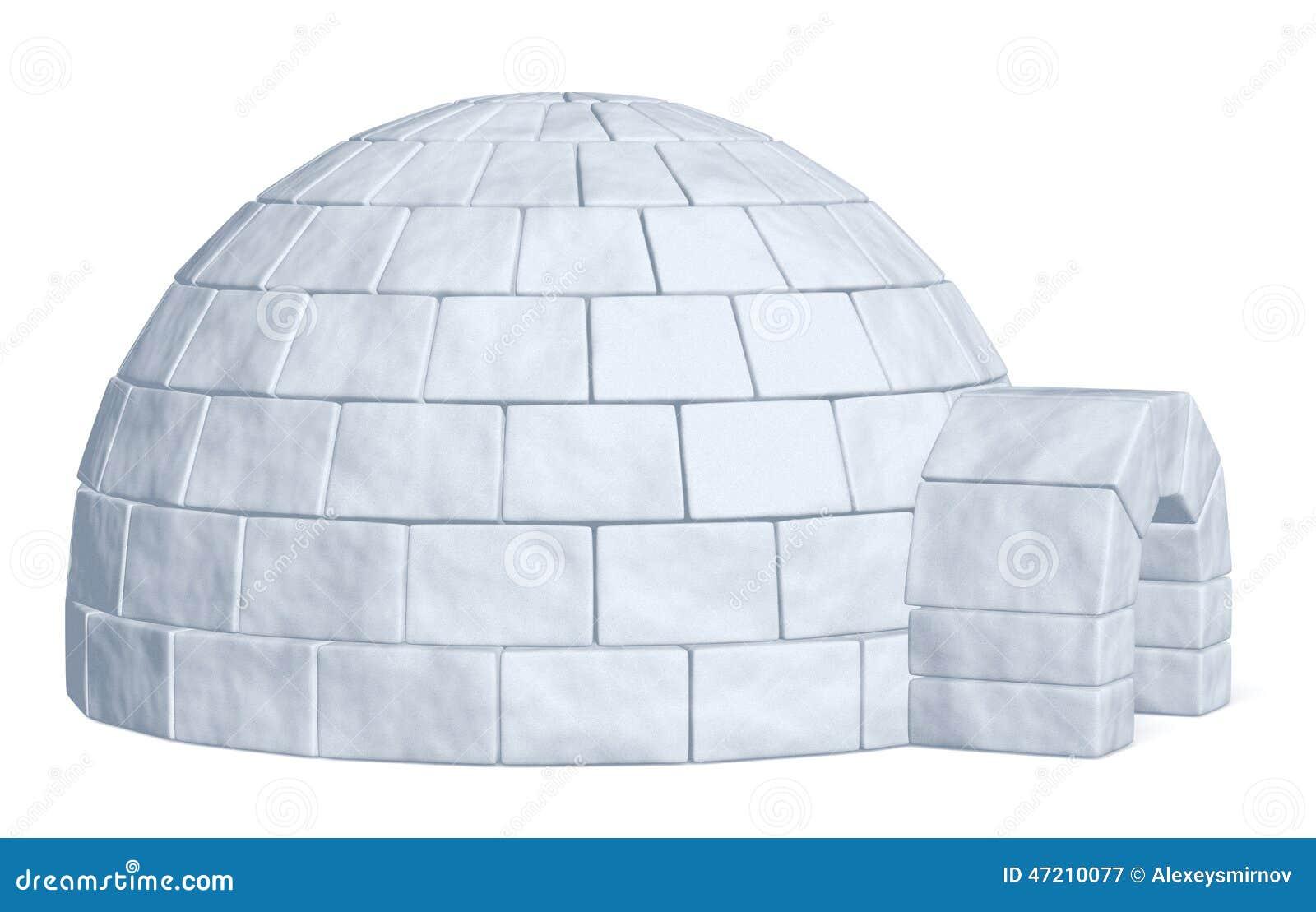 Depósito de hielo del iglú en la vista lateral blanca