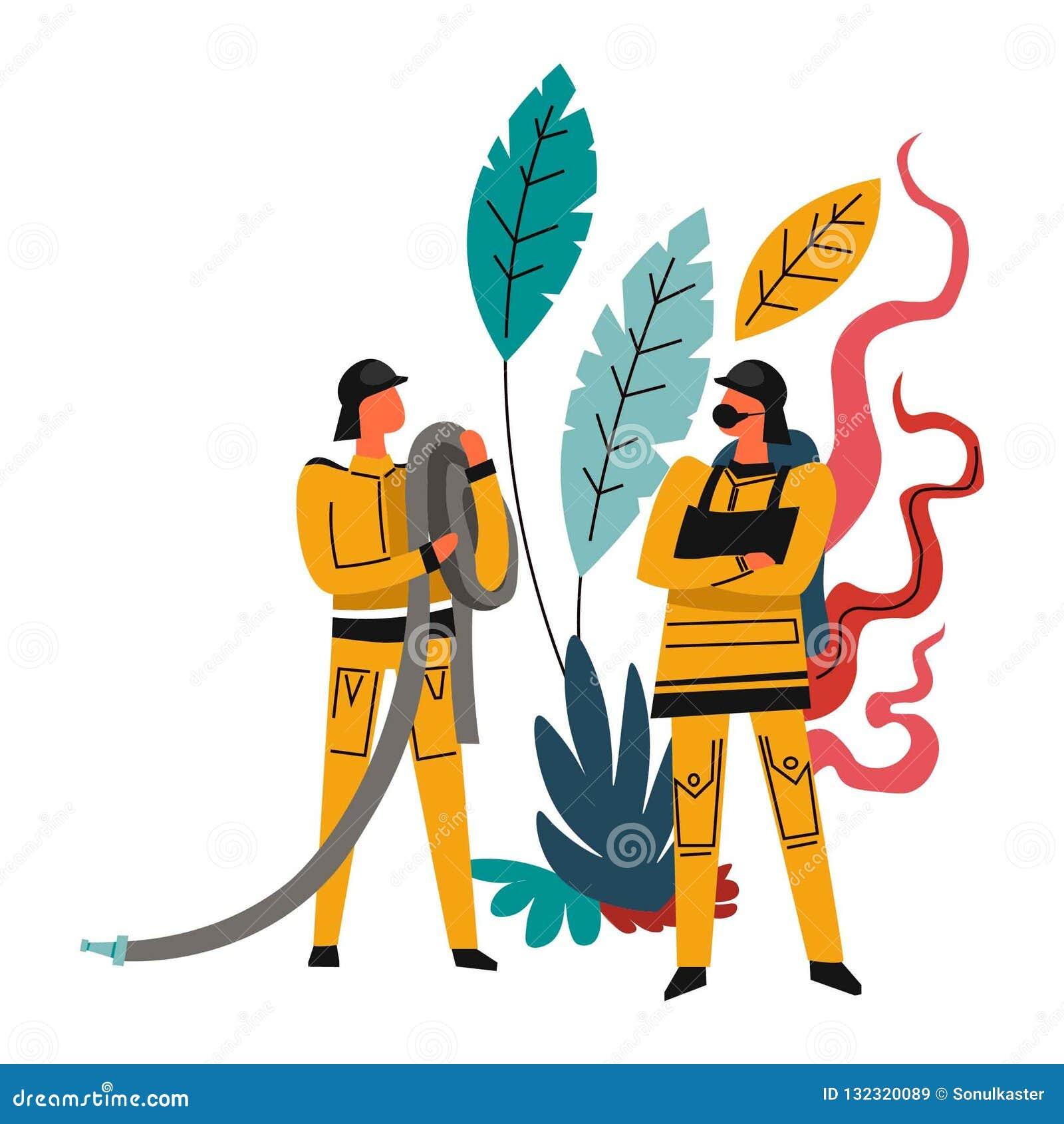 Departamento de bomberos, varones valientes que llevan los trajes, bomberos con las mangueras