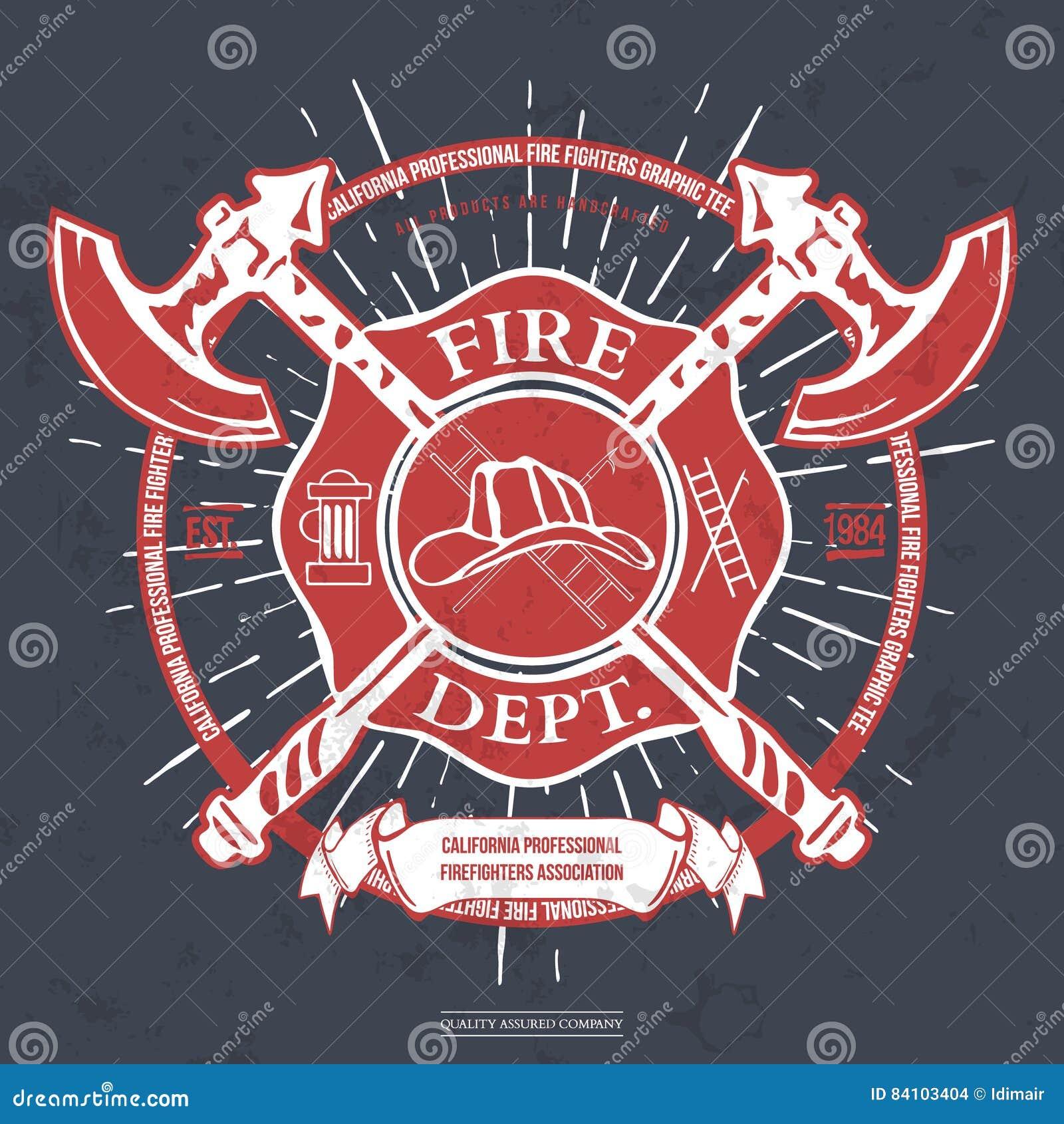 Departamento del fuego label Casco con los gráficos cruzados de la camiseta de las hachas Vector