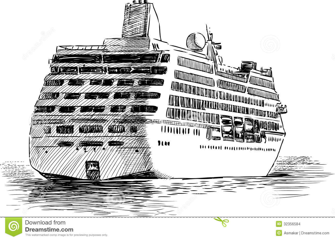 departing cruise ship stock vector illustration of