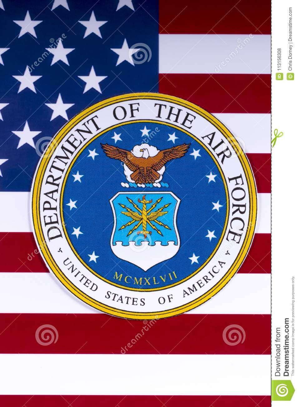 Department Of The Air Force And The Us Flag Editorial Stock Photo