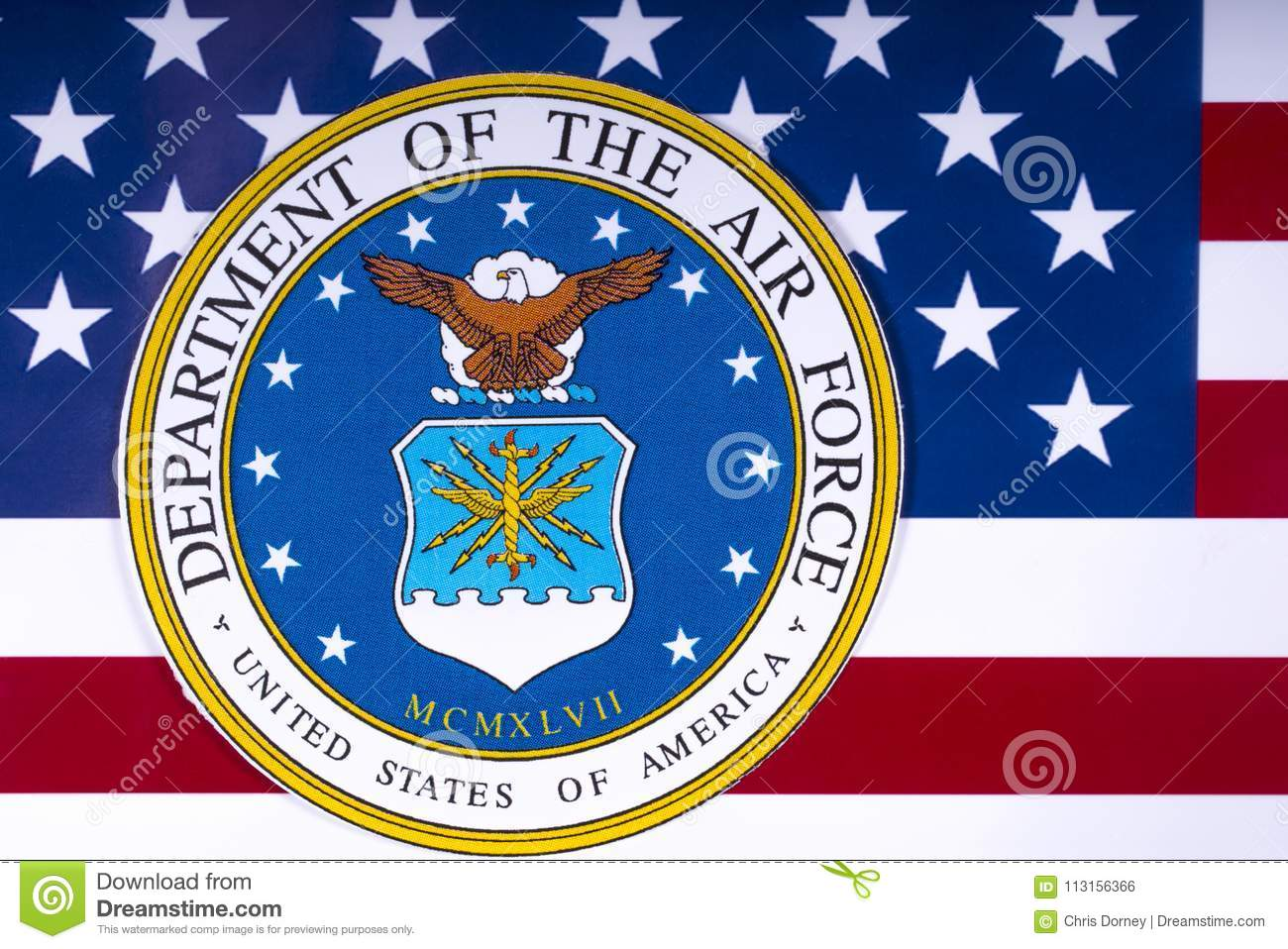Department Of The Air Force And The Us Flag Editorial Photo Image