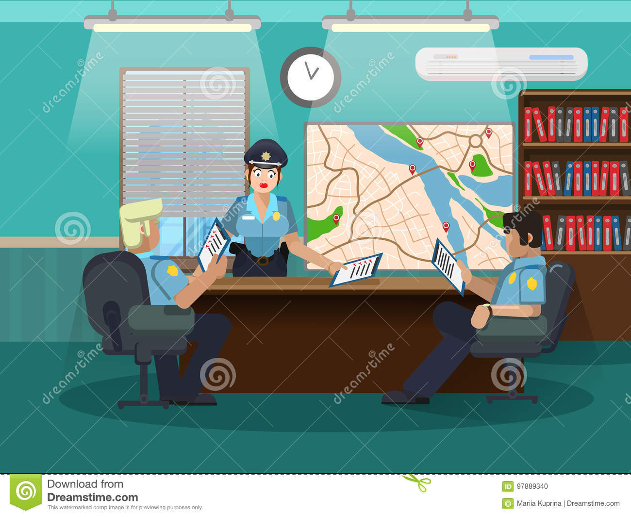 Department of internal investigations. Develop an action plan. Three policemen in the office at the table.