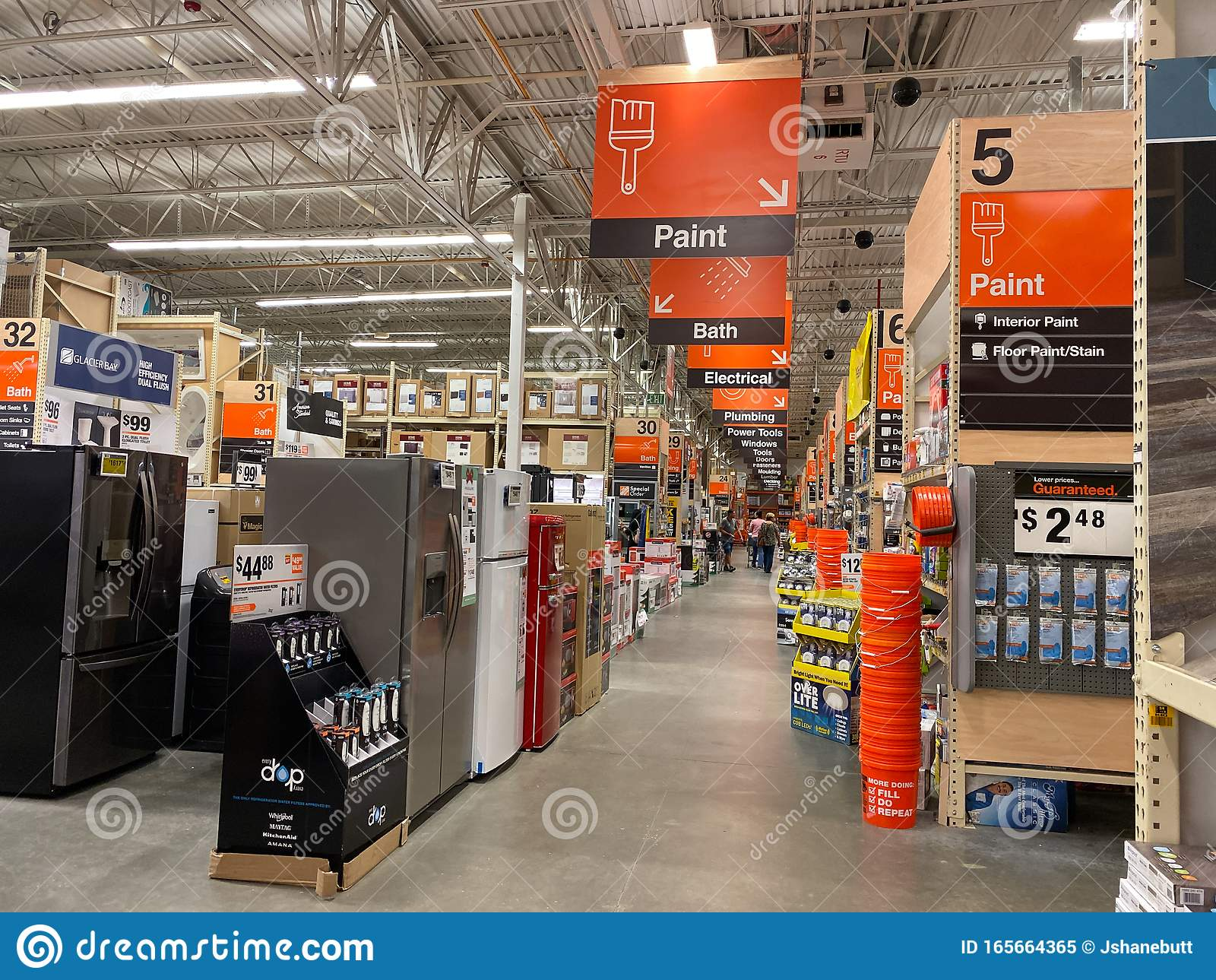The Department Signs Hanging From The Ceiling At Home Depot Home Improvement Store Editorial Image Image Of Products Building 165664365