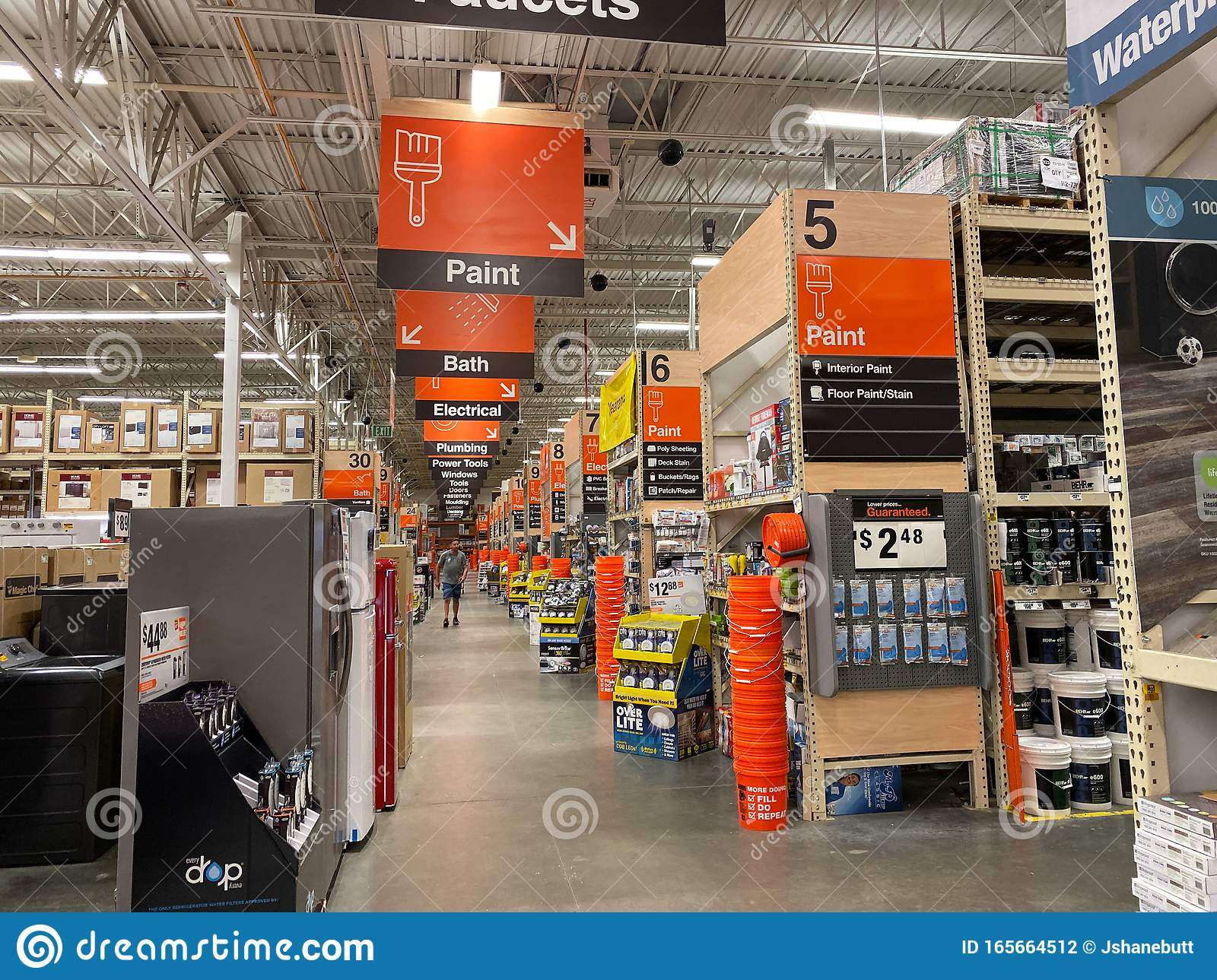 The Department Signs Hanging From The Ceiling At Home Depot Home Improvement Store Editorial Photography Image Of Company Horizontal 165664512