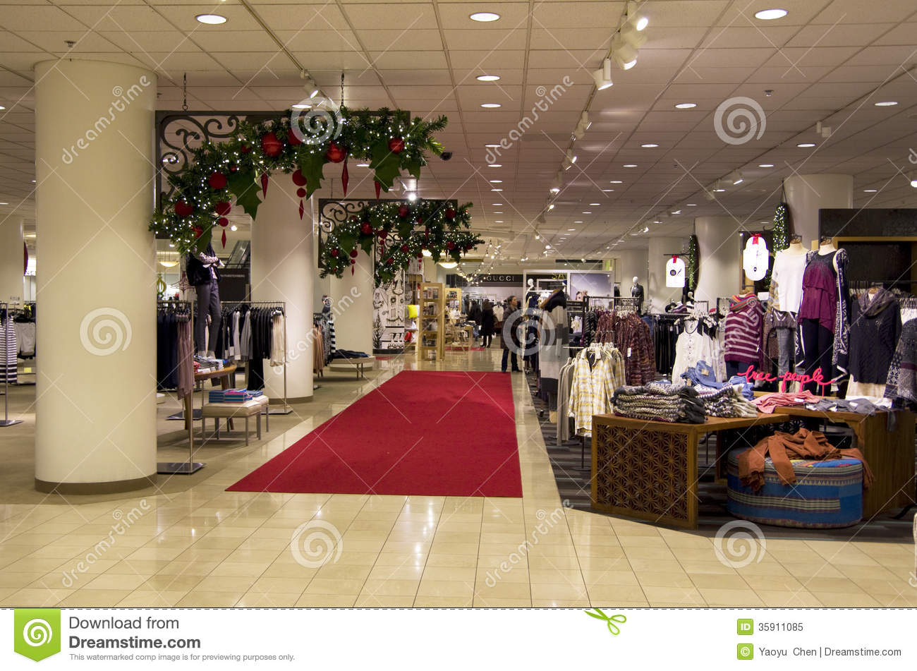 Department Store Mall Shopping Christmas Tree Ligh Editorial Image ...